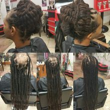 Bee adds instantLoc Dread Extensions to cover bald spot on client natural dreadlocks hair.