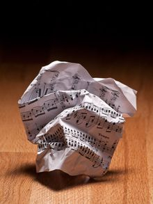 Crumpled up music thanks to a frustrated musician