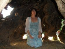ChristinA inside the Worlds Oldest Olive Tree Sounding