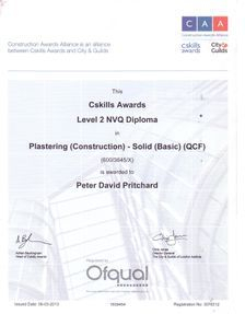 nvq 2 certificate in plastering