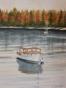 The Ruth Sebasco Harbor Boat Maine Original Watercolor by Tricia Granzier