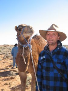 Training Camels. 5 days from the wild and already the camel has formed trust with handler, Russell Osborne