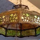 caramel green slag glass lampshade