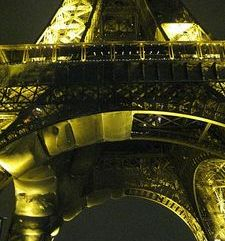 "src=""australian womens travel.jpg alt=womens travel,eiffel tower at night during repairs of first floor , paris france """