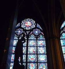 "src=""australian womens travel.jpg alt=womens travel,stained glass window, notre dame , paris france """
