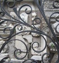 "ravel, ancient scaps of sculpture on wall, bellagio, lake como, italy"">"