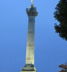 "src=""australian womens travel.jpg alt=womens travel,bastille monument at dusk , paris france """