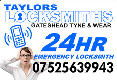 Gateshead Locksmith, Taylors Locksmiths, 24 hour emergency , call 07525639943 www.taylorslocksmiths.co.uk