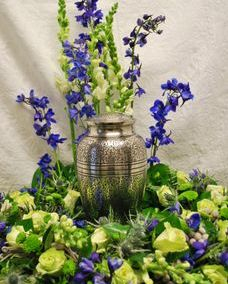 Urn wreath with delphinium