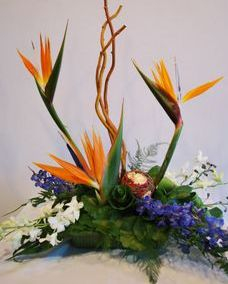 tropical centerpiece with birds of paradise