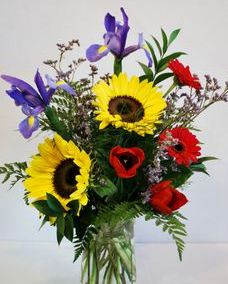 sunflowers, iris vase arrangement