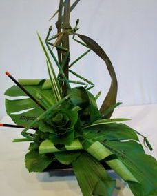 greenery centerpiece made of leaves