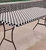 Black-White Check Plastic Elastic Table Cover