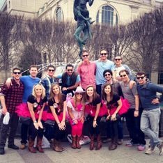 Jake's bachleor party posing in front of Schermerhorn with bachelorettes