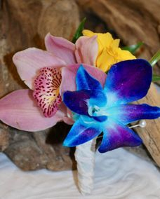 Cymbidium orchid and Bom Blue boutonniere