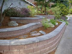 garden walls capped with stone and flagstone