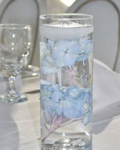 Submersed blue hydrangea centerpiece