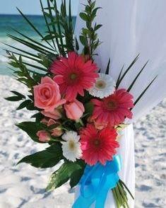 Coral Gerber daisy arbor tieback