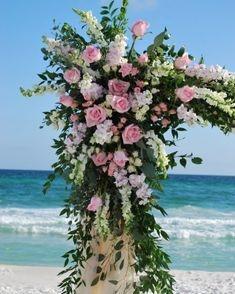 Pink & White Corner Arbor Flowers