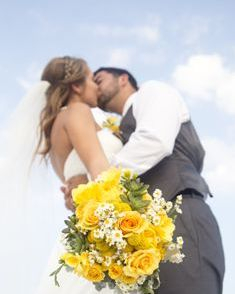 Navarre Beach Wedding, rose & craspedia bridal bouquet