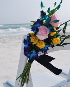 Wedding chair tropical flowers