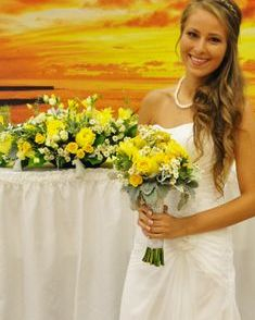 Sweet Heart Table Arrangement with yellow roses and freesia