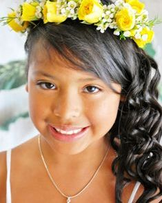 Flower girl halo with yellow spray roses