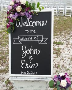 Chalkboard flowers with purple roses