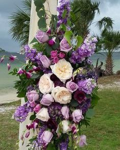 Arbor flowers with purple roses