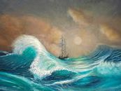This ocean oil painting was inspired by the naval artist Aivazovsky