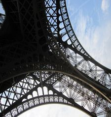 "src=""australian womens travel.jpg alt=womens travel,looking up at eiffel tower detail from below , paris france """