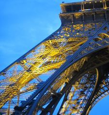 "src=""australian womens travel.jpg alt=womens travel,eiffel tower detail at dusk , paris france """