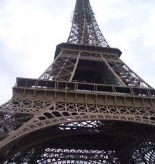 "src=""australian womens travel.jpg alt=womens travel,looking up at the eiffel tower , paris france """