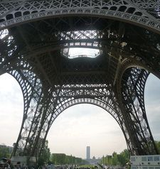 "src=""australian womens travel.jpg alt=womens travel,back legs of eiffel tower taken from the front , paris france """