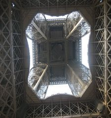 "src=""australian womens travel.jpg alt=womens travel,interior of eiffel tower looking up , paris france """