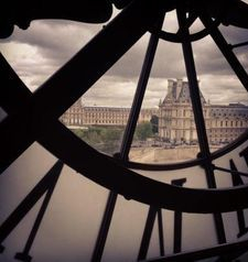 "src=""australian womens travel.jpg alt=womens travel,looking out of clock at musee dorsay , paris france """