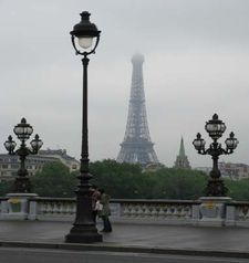 "src=""australian womens travel.jpg alt=womens travel,streetlamp with eiffel tower in the distance , paris france """