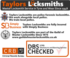 Gateshead locksmith checked and vetted, police locksmith logos,