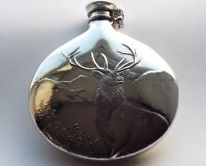 6oz Sporran flask Embossed Monarch of the Glen with captive top