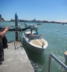 "womens tours.jpg alt=womens travel, water taxi at wharf, venice"">"