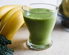 Organic green smoothie mixed with organic glutathione boosting protein