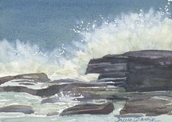 Wave Crashing at Two Lights Original Maine Watercolor by Tricia Granzier