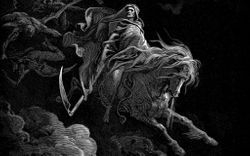 Death on the pale horse descending from the dark skies