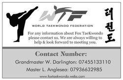 Back of fox taekwondo business card
