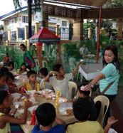 Street children with Jolibee