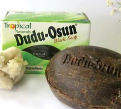 Dudu-Osun African Black Soap - 5¼ oz.   Step up to purely soft skin. Enjoy the ultimate luxury with our newest Dudu Osun African Black Soap. Specially formulated entirely from natural ingredients and herbs, this African black soap will have you feeling refreshed and silky smooth. Restores damaged skin and is helpful in healing chronic eczema, acne, freckles, and dark spots. Scented with osun (camwood extract), citrus juices, and nativehoney.