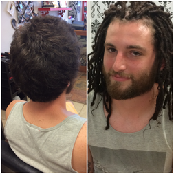 Braids By Bee starts dreadlocks on white caucasian male straight type hair and short started with instantloc dread extensions