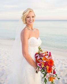 beach wedding, star gazer lily & gerbera daisy bridal bouquet
