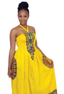 Traditional Print Tube Dress: Yellow Show off your figure with this traditional print tube dress. 100% rayon; hand wash for best results