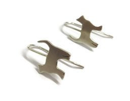 hand made silver cat earrings